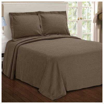 Benito Paisley Jacquard Matelasse Bedspread Size: King, Color: Taupe