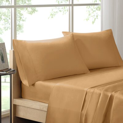 Poe 600 Thread Count Pima Solid Cotton Sheet Set Size: Queen, Color: Gold
