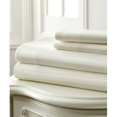 Beckett 400 Thread Count 100% Cotton 4 Piece Sheet Set Color: Ivory