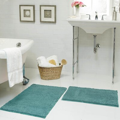 Garlyn Plush Bath Mat Color: Marine Blue, Size: 17 x 24