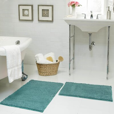 Garnell Chenille Plush Large 2 Piece Bath Mat Set Color: Aqua