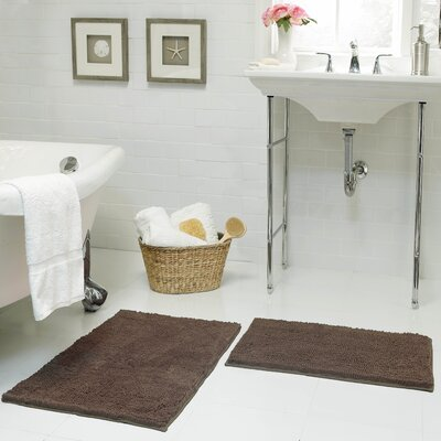 Garnell Chenille Plush Large 2 Piece Bath Mat Set Color: Mocha