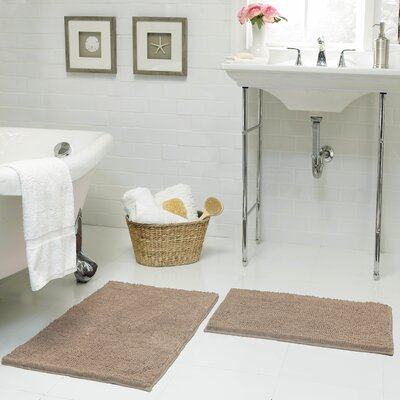 Garnell Chenille Plush Large 2 Piece Bath Mat Set Color: Linen