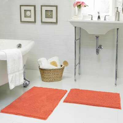 Garnell Chenille Plush Large 2 Piece Bath Mat Set Color: Coral
