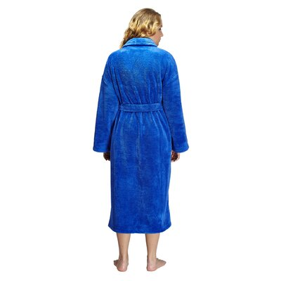 Geneve Womens Shawl Soft Touch Plush Bathrobe Size: Small, Color: Royal Blue