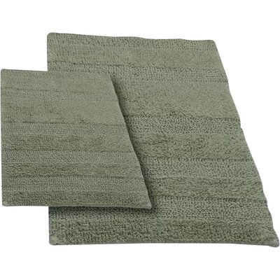 Verne 2 Piece 100% Cotton Wide Cut Reversible Bath Rug Set Size: 34 H X 21 W and 40 H X 24 W, Color: Light Sage