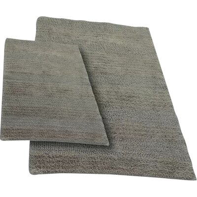 Verne 2 Piece 100% Cotton Wide Cut Reversible Bath Rug Set Size: 24 H X 17 W and 34 H X 21 W, Color: Stone