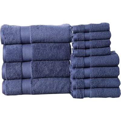 Fontaine Super Absorb 100% Cotton Low Twist 12 Piece Towel Set Color: Blue Stone