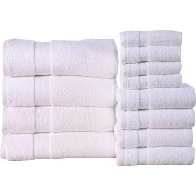Fontaine Super Absorb 100% Cotton Low Twist 12 Piece Towel Set Color: White
