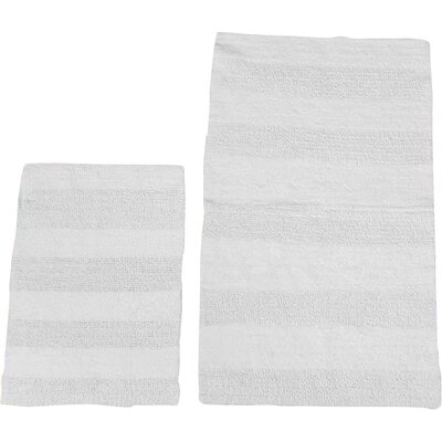 Verne 2 Piece 100% Cotton Wide Cut Reversible Bath Rug Set Size: 24 H X 17 W and 40 H X 24 W, Color: White