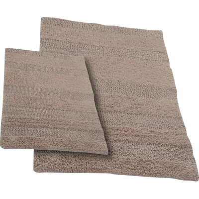 Verne 2 Piece 100% Cotton Wide Cut Reversible Bath Rug Set Size: 24 H X 17 W and 40 H X 24 W, Color: Natural