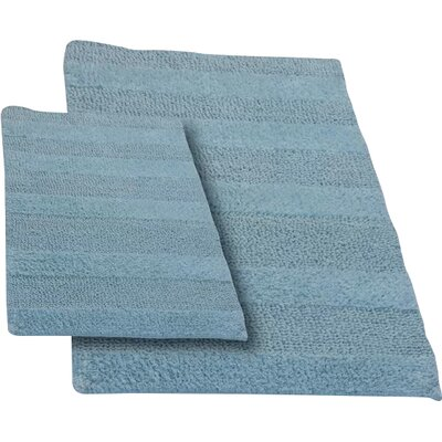 Verne 2 Piece 100% Cotton Wide Cut Reversible Bath Rug Set Size: 24 H X 17 W and 40 H X 24 W, Color: Light Blue
