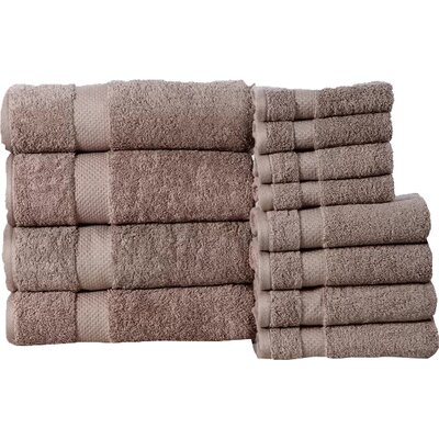 Fontaine Super Absorb 100% Cotton Low Twist 12 Piece Towel Set Color: Taupe