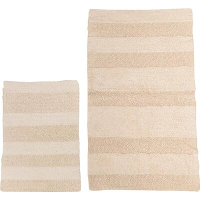 Verne 2 Piece 100% Cotton Wide Cut Reversible Bath Rug Set Size: 24 H X 17 W and 40 H X 24 W, Color: Ivory
