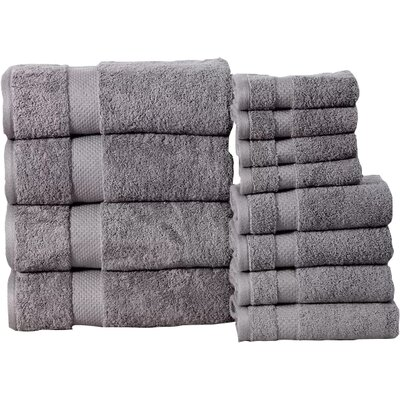Fontaine Super Absorb 100% Cotton Low Twist 12 Piece Towel Set Color: Silver Gray