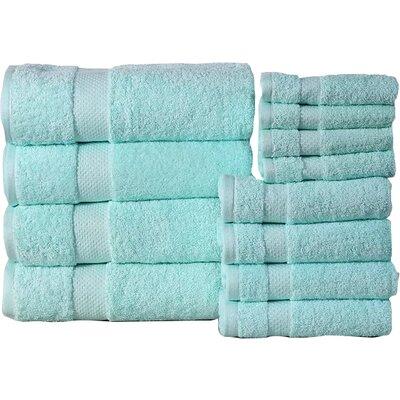 Fontaine Super Absorb 100% Cotton Low Twist 12 Piece Towel Set Color: Aqua