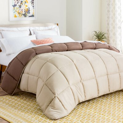 Midweight Down Alternative Comforter Size: King, Color: Sand/Mocha