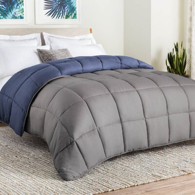 Midweight Down Alternative Comforter Size: Twin, Color: Navy/Graphite