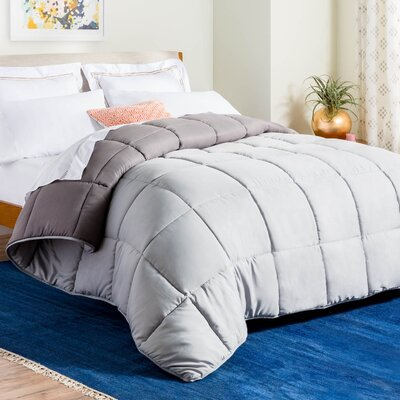 Midweight Down Alternative Comforter Size: King, Color: Stone/Charcoal