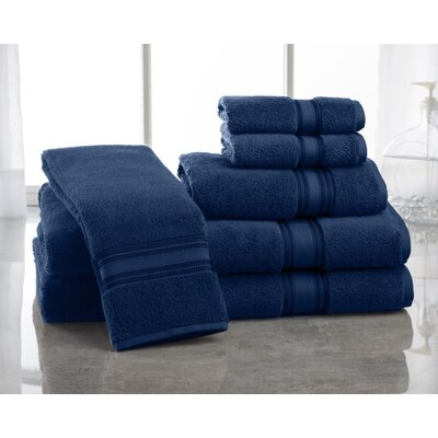 Super Absorb 100% Cotton Zero Twist 6 Piece Towel Set Color: Navy