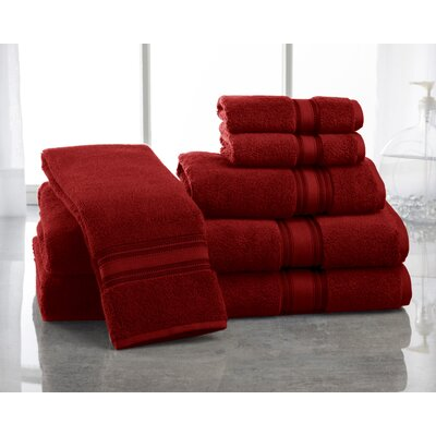 Super Absorb 100% Cotton Zero Twist 6 Piece Towel Set Color: Burgundy