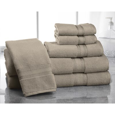 Super Absorb 100% Cotton Zero Twist 6 Piece Towel Set Color: Taupe