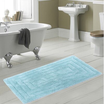 Irving 100% Cotton Racetrack Spray Latex Back Bath Rug Size: 40 H X 24 W, Color: Lt. Blue