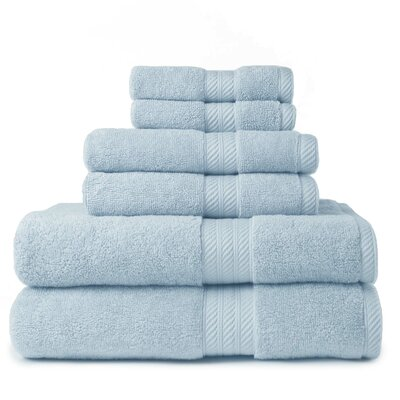 100% Cotton 2 Ply 6 Piece Towel Set Color: Powder Blue