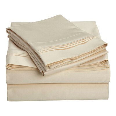Patric 1500 Thread Count 100% Egyptian-Quality Cotton Sheet Set Size: King, Color: Ivory