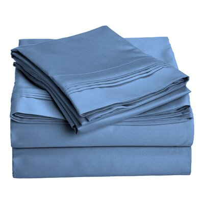 Patric 1500 Thread Count 100% Egyptian-Quality Cotton Sheet Set Size: California King, Color: Medium Blue