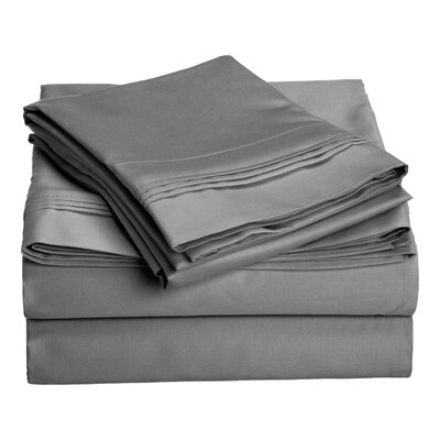 Patric 1500 Thread Count 100% Egyptian-Quality Cotton Sheet Set Size: California King, Color: Grey
