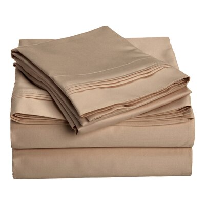 Patric 1500 Thread Count 100% Egyptian-Quality Cotton Sheet Set Size: Full, Color: Taupe