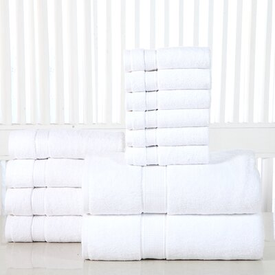 12 Piece Towel Set Color: White