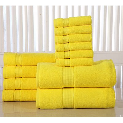 12 Piece Towel Set Color: Yellow