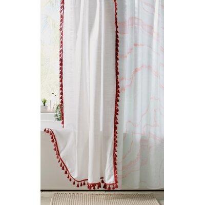 Everardo 100% Cotton Tassel Shower Curtain Color: Claret