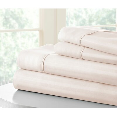 Anson Double-Brushed Dobby Stripe Sheet Set Size: Twin, Color: Ivory