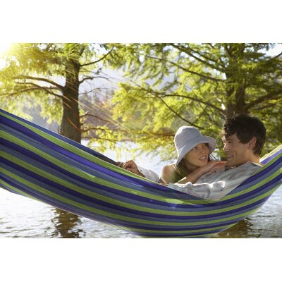 Double Adjustable Cotton Hammock with Stand Color: Green/Purple