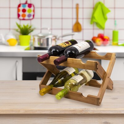 6 Bottle Tabletop Wine Rack Finish: Wood