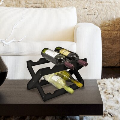 6 Bottle Tabletop Wine Rack Finish: Black