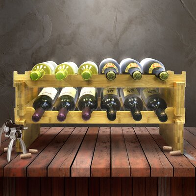 2-Tier Stackable Bamboo 12 Bottle Tabletop Wine Bottle Rack