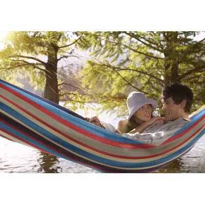 Double Adjustable Cotton Hammock with Stand Color: Blue/Red
