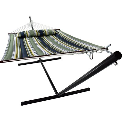 Ashlee Hammock with Stand Color: Blue/Aqua