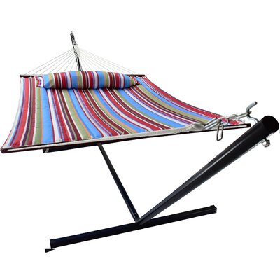 Ashlee Hammock with Stand Color: Blue/Red