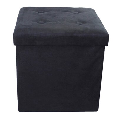 Foldable Cube Storage Ottoman Upholstery: Black