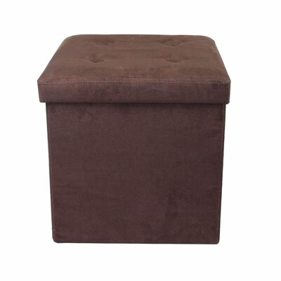 Foldable Cube Storage Ottoman Upholstery: Chocolate