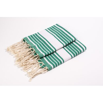 Hand Towel Color: Green/White