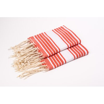 Hand Towel Color: Orange/White