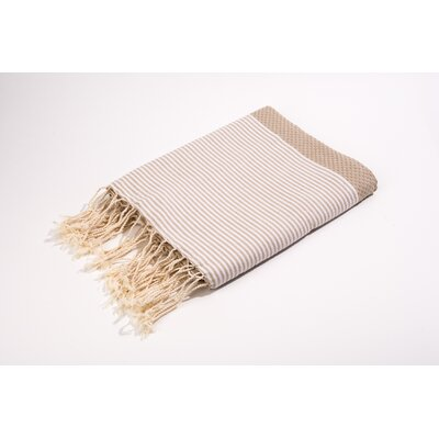 Fouta Thin Stripes Bath Towel Color: Beige/White