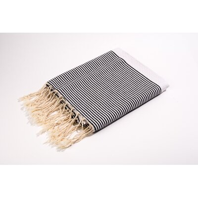 Fouta Thin Stripes Bath Towel Color: White/Black