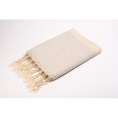 Fouta Thin Stripes Bath Towel Color: Off White/Grey